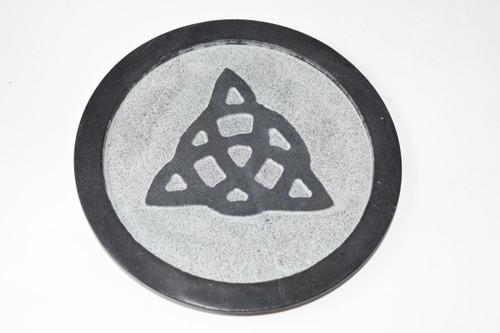 "6"" Triquetra Black Soapstone Altar Tile - Altar Tile - Altar Tile, Coaster, Altar Supplies, Gift Giving, Decor"