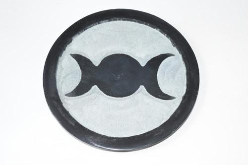 "6"" Triple Moon Black Soapstone Altar Tile - Altar Tile - Altar Tile, Coaster, Altar Supplies, Gift Giving, Decor"