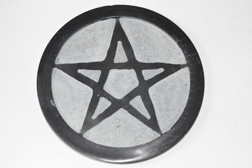 "6"" Star Pentacle Black Soapstone Altar Tile - Altar Tile - Altar Tile, Coaster, Altar Supplies, Gift Giving, Decor"