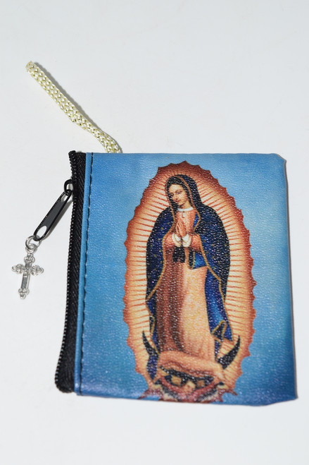 Our Lady of Guadalupe Rosary Zipper Rosary Pouch with Charm-Rosary Bead Pouch,  Rosary Bead Case, Crystal Carrying Bag, Bag, Pouch