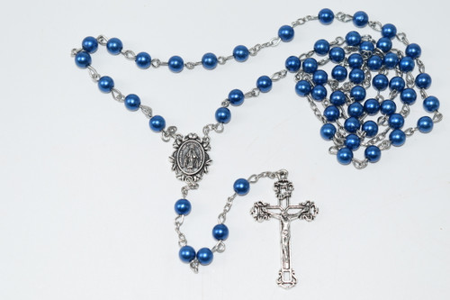 Blue Faux Pearl Rosary Bead Necklace 5 mm Bead- Prayer Necklace
