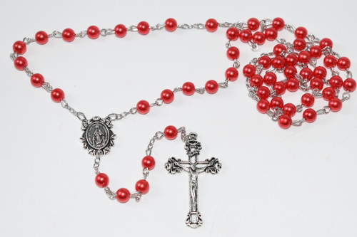 Red Faux Pearl Rosary Bead Necklace 5mm Bead - Prayer Necklace