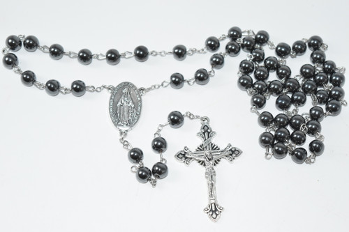 Hematite Rosary Bead Necklace 8mm Bead - Prayer Necklace