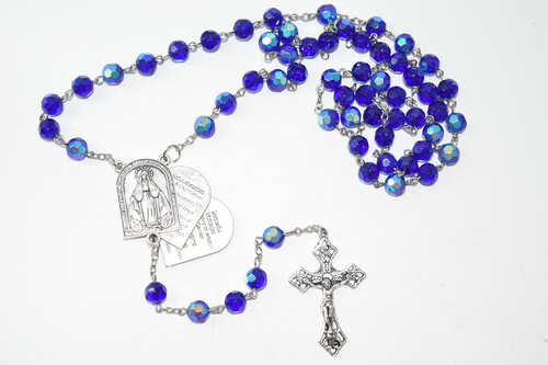 Sliding Mystery Rosary Bead Necklace 8mm Bead - Prayer Necklace