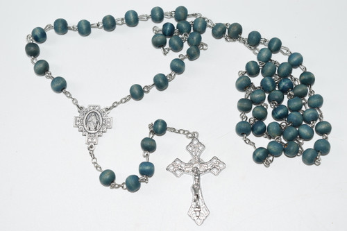 Rose Scented Blue Wood Rosary Bead Necklace 7mm Bead - Prayer Necklace