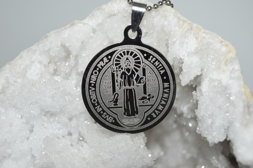 St. Benedict Stainless Steel Laser Engraved Pendant Necklace - Prayer Necklace - Necklace