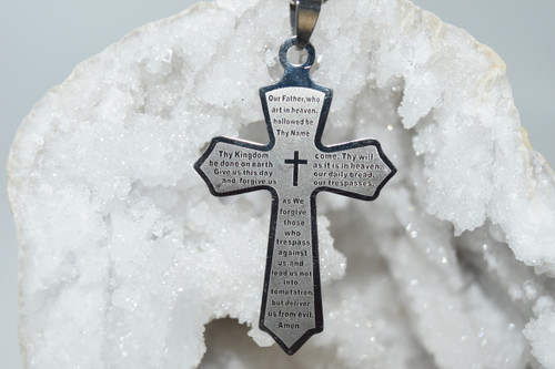 Lord's Prayer Cross Stainless Steel Laser Engraved Pendant Necklace - Prayer Necklace - Necklace
