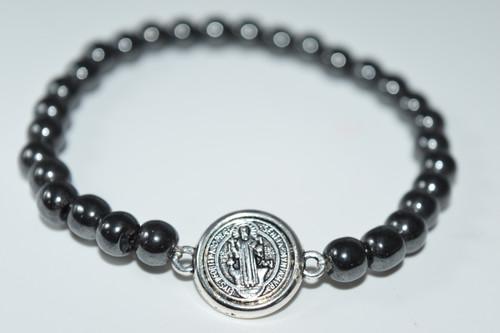 St. Benedict Hematite Stretch Bracelet 6mm- Prayer Bracelet -
