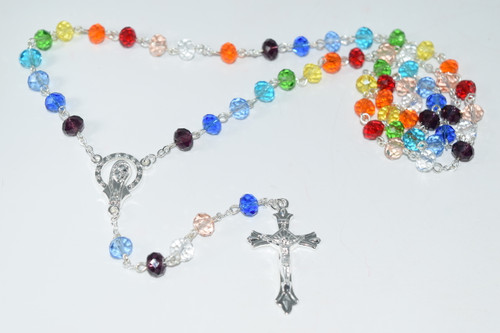 Colorful Rosary Bead Necklace 7mm Bead - Prayer Necklace