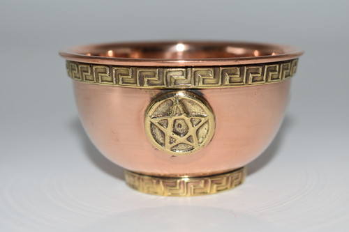 Copper Bowl- Pentacle- Offering Bowl,  Altar Supply, Gift Giving