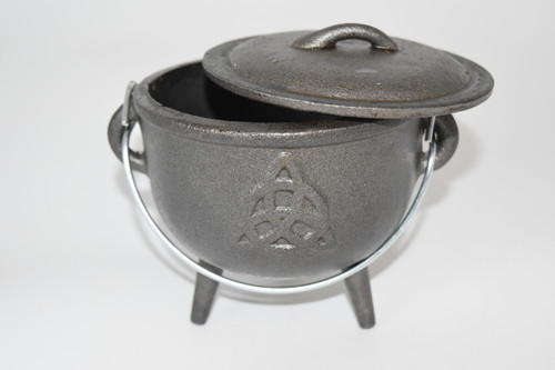 Large Cast Iron Triquetra Cauldron for Incense, Resin,Cones