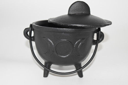 Large Cast Iron Triple Moon Cauldron for Incense, Resin,Cones