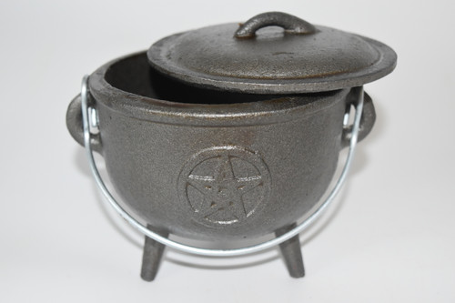 Large Cast Iron Pentacle Cauldron for Incense, Resin,Cones