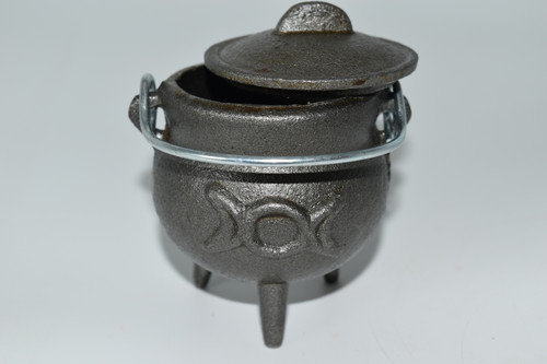 Small Cast Iron Triple Moon Cauldron for Incense, Resin,Cones