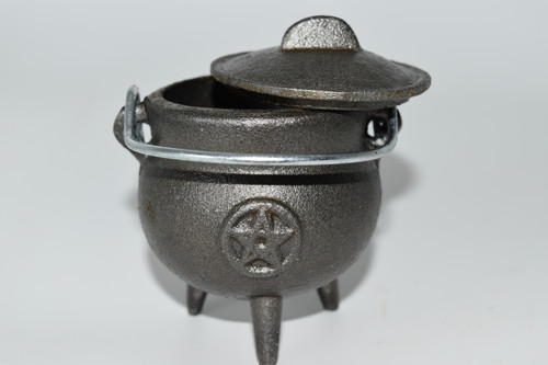 Small Cast Iron Pentacle Cauldron for Incense, Resin,Cones