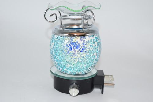 Blue Crackle Design Dimmable Oil Burner Aromatherapy Lamp Outlet Plug - Aromatherapy, Oil Burner, Zen Decor
