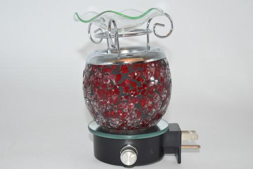 Red Crackle Design Dimmable Oil Burner Aromatherapy Lamp Outlet Plug - Aromatherapy, Oil Burner, Zen Decor