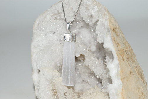 Lg Selenite Crystal Pendant with Necklace SP