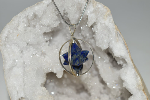 Spinning Blue Lapis Lazuli Merkaba Crystal Pendant with Necklace-