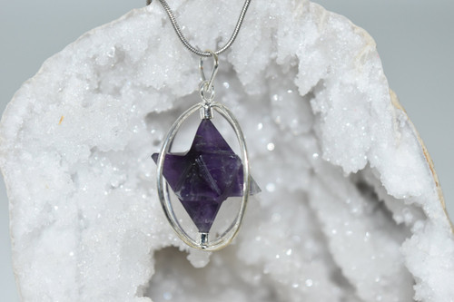 Spinning Amethyst Merkaba Crystal Pendant with Necklace