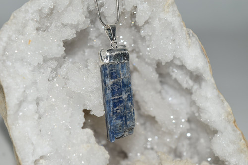 Blue Kyanite Crystal Pendant and Necklace SP