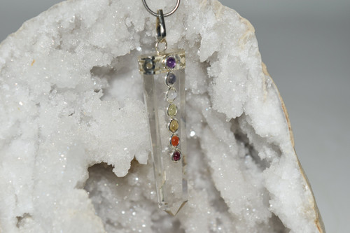 Clear Quartz Point Crystal Chakra Pendant with Necklace