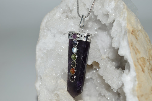 Amethyst Point Chakra Crystal Pendant with Necklace-