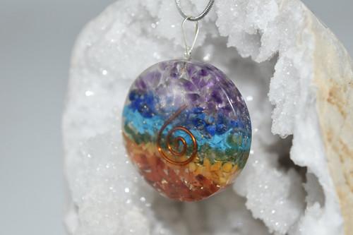 Multi Color Round Orgone Pendant -Quartz Crystal, Mixed Gemstones