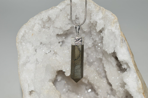 Pyrite Pendant with Necklace - Crystal