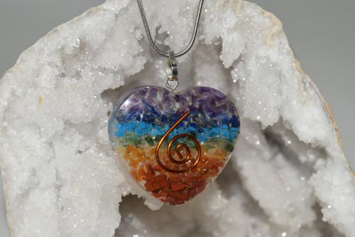 Multi Color Orgone Heart Energy Pendant -Quartz Crystal, Mixed Gemstones