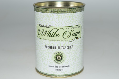 24pc White Sage Backflow Incense Cones - Goloka