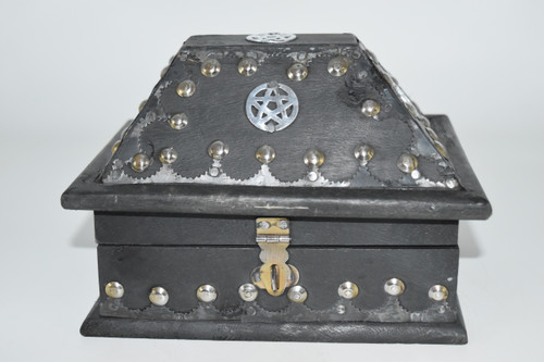 Star Antique Chest- Wooden Box- Tarot Cards, Crystals, Altar Supplies, Gift Giving