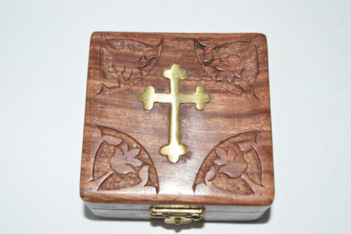 Cross Inlaid Square Box- Rosary Bead Box,  Altar Supplies,  Gift Giving