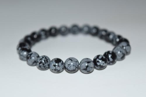 Snowflake Obsidian Crystal Bracelet 8mm