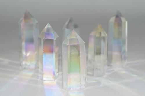 Opal Angel Aura Quartz/ White Angel Aura Quartz Point Crystal
