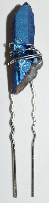 Dark Blue Angel Aura Quartz Single Stone Hair Pin Angel Aura Quartz Crystal