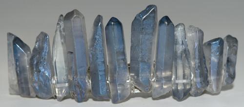 Slate Blue Angel Aura Quartz Stone Hair Clip Barrette Angel Aura Quartz Crystal