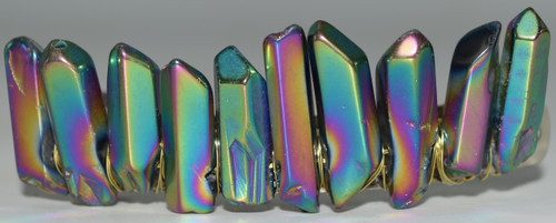 Multi Color Rainbow Angel Aura Quartz Stone Hair Clip Barrette Angel Aura Quartz Crystal