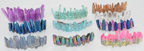 Dark Blue and Purple Angel Aura Quartz Stone Hair Clip Barrette Angel Aura Quartz Crystal
