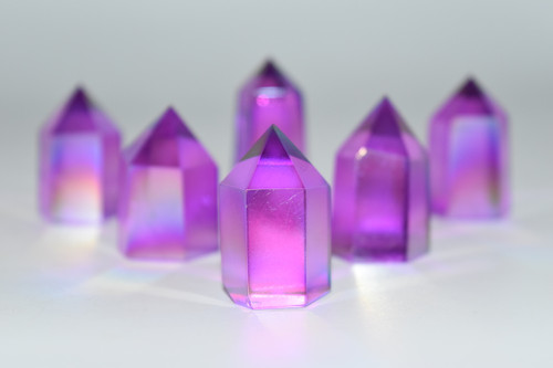 Purple Angel Aura Quartz Point - Wicca, Pagan, Protection, Crystal Grid, Crystal Therapy