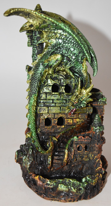 Castle Dragon Backflow Incense Burner w/ Changing LED Light- For use with Backflow Incense Cones