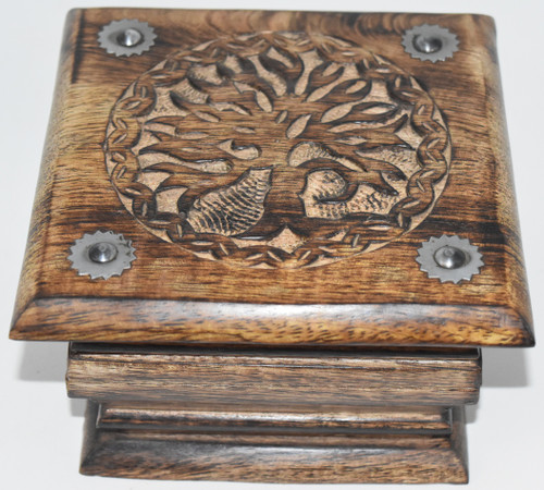 Tree Carved Box- Tarot Cards, Crystals, Altar Supplies, Gift Giving