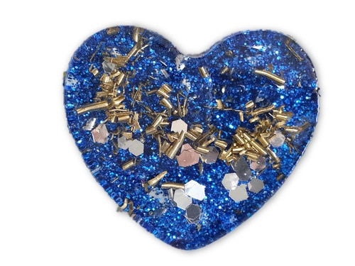 Blue Mini Heart Orgone -Tibetan Quartz, Rose Quartz, Pyrite, Blue Kyanite