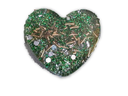 Green Mini Heart Orgone -Tibetan Quartz, Rose Quartz, Pyrite, Blue Kyanite