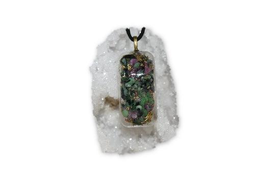 Ruby in Zoisite Orgone Pendant -Tibetan Quartz, Ruby in Zoisite/Anyolite-