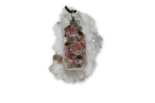 Divine Sparks Orgone Pendant - Tibetan Quartz Crystal, Pink and Green Tourmaline Crystal