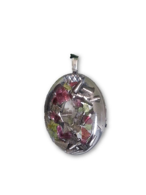Rose Garden Orgone Pendant -Tibetan Quartz Crystal, Garnet, Peridot