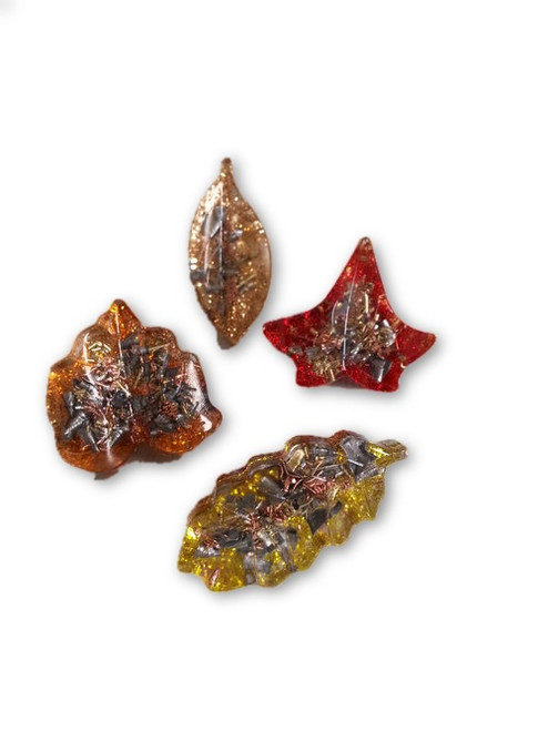 Fall Leaf Mini Orgone Individuals -Quartz Crystal, Pyrite, Blue Kyanite