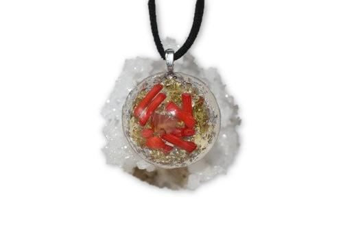 Blazing Orgone Pendant - Tibetan Quartz, Citrine, Red Coral