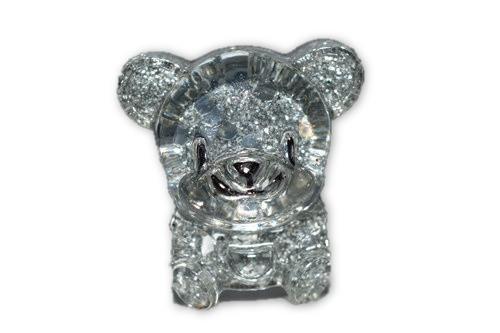 Orgone Silver Bear Mini 1 pc -Quartz Crystal, Pyrite, Blue Kyanite